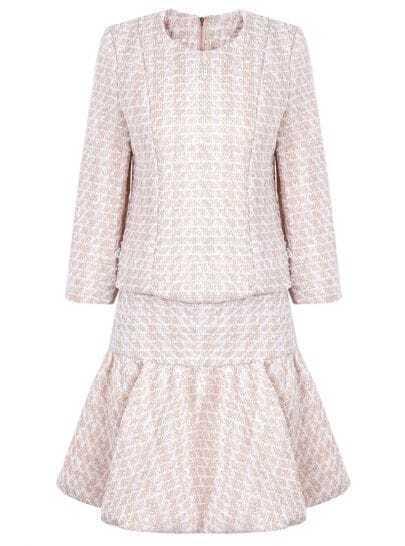 Pink Long Sleeve Metallic Yoke Top With Skirt