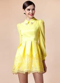Yellow Long Sleeve Contrast Organza Dress