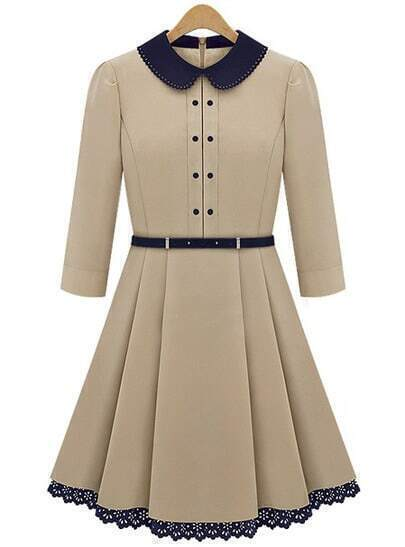 Apricot Long Sleeve Contrast Lapel Pleated Dress