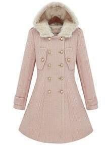 Pink Fur Hooded Long Sleeve Buttons Coat
