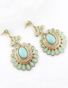 Green Gemstone Gold Geometric Earrings