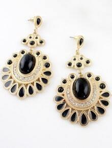 Black Gemstone Gold Geometric Earrings