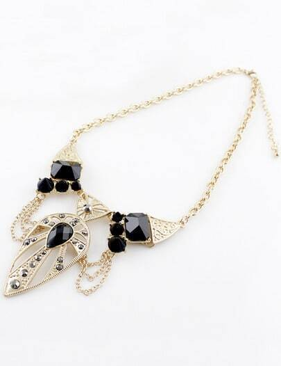 Black Gemstone Gold Hollow Necklace