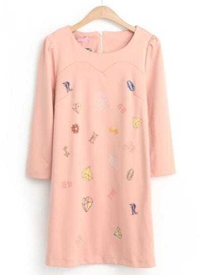 Pink Long Sleeve Diamond Letters Print Dress