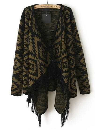 Army Green Long Sleeve Tassel Geo Pattern Cardigan