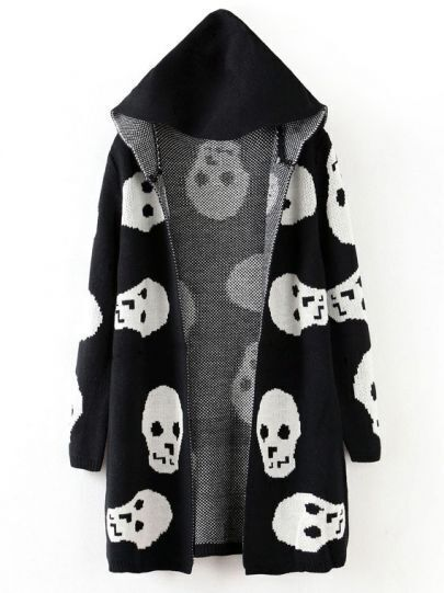Black Hooded Long Sleeve Skull Pattern Cardigan