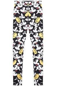 Black White Elastic Waist Mickey Print Pant