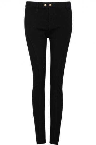Black Slim Elastic Pockets Pant