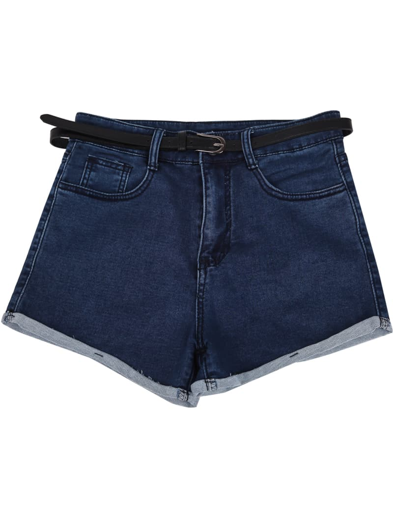 Navy Low Waist Pockets Flange Denim Shorts -SheIn(Sheinside)