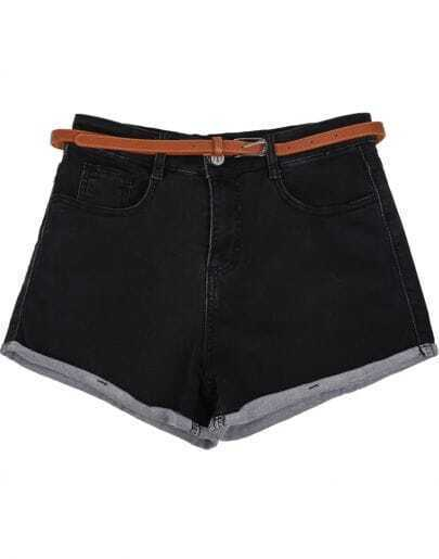 Black Low Waist Pockets Flange Denim Shorts