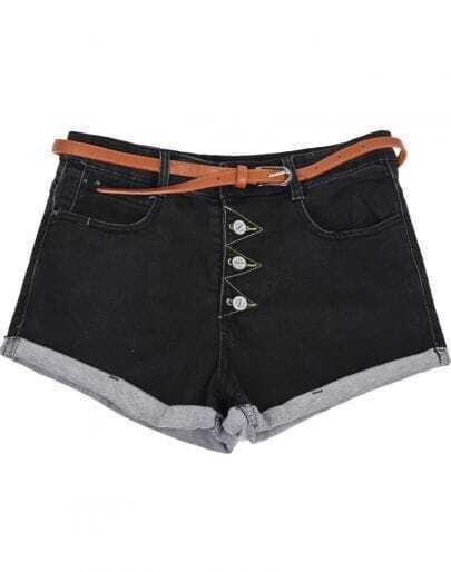 Black Low Waist Buttons Flange Denim Shorts