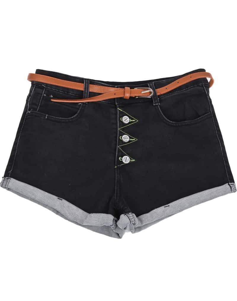 Black Low Waist Buttons Flange Denim Shorts -SheIn(Sheinside)