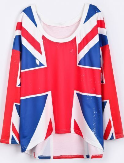 Red Long Sleeve Union Jack Print Loose T-Shirt