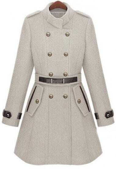 Double Breasted Banded Collar Belt Woolen Coat