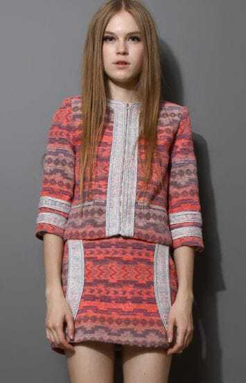 Coral Contrast Trims Tribal Print Jacket with Skirt