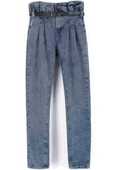 Light Blue High Waist Belt Denim Pant