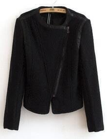 Black Long Sleeve Zipper Contrast PU Leather Jacket