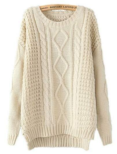 Beige Long Sleeve Cable Knit Dipped Hem Sweater