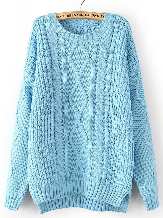 Blue Long Sleeve Cable Knit Dipped Hem Sweater -SheIn(Sheinside)