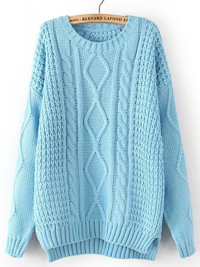 Blue Long Sleeve Cable Knit Dipped Hem Sweater