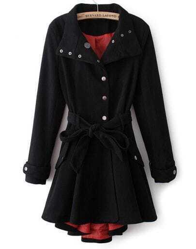 Black Stand Collar Long Sleeve Belt Slim Coat