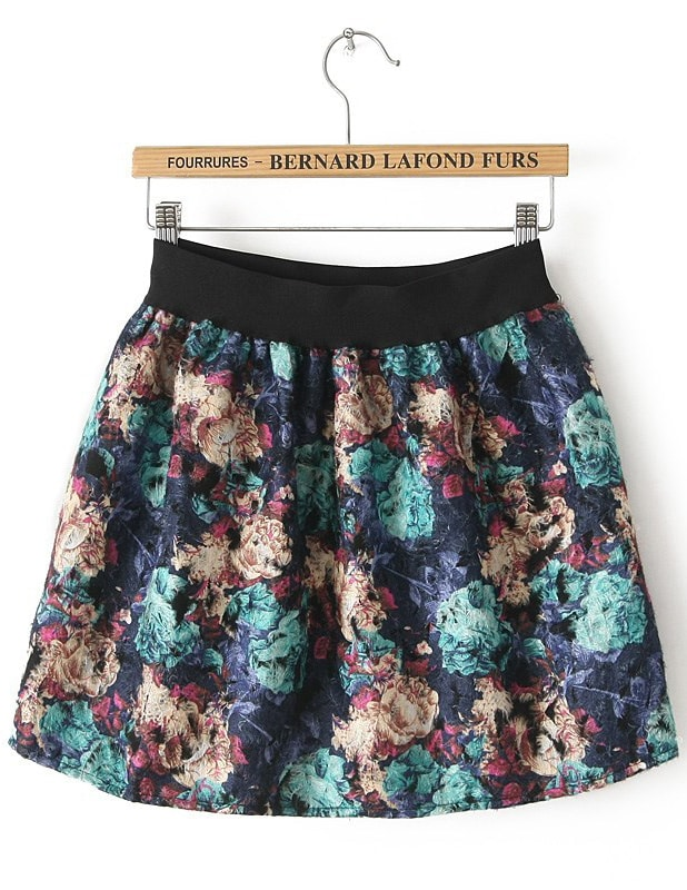 Blue High Waist Floral Flare Skirt -SheIn(Sheinside)
