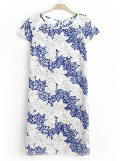 Blue White Short Sleeve Floral Slim Dress