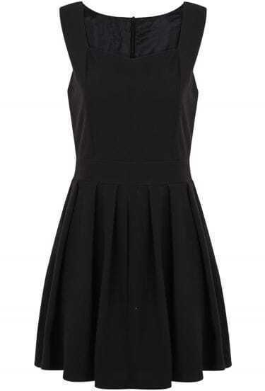 Black Strap Square Neckline Sleeveless Waitband Pleated Dress