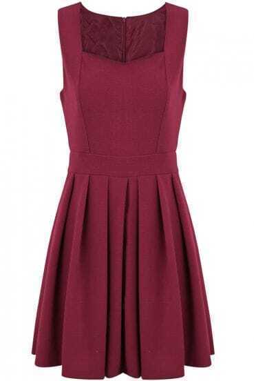 Red Strap Square Neckline Sleeveless Waistband Pleated Dress