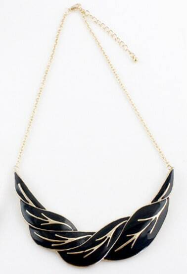 Black Gold Leaf Chain Necklace