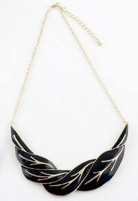 Black Gold Leaf Chain Necklace