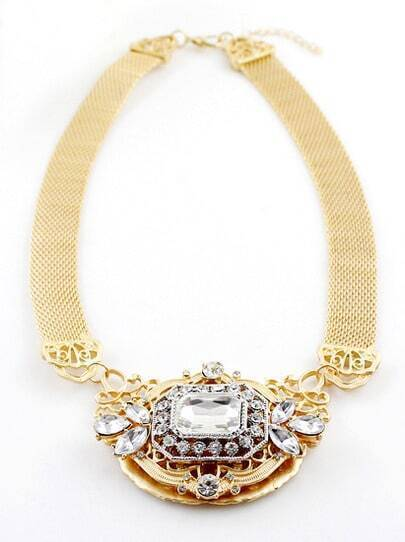 White Gemstone Gold Hollow Chain Necklace