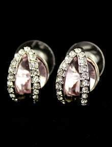 Pink Gemstone Silver Crystal Stud Earrings