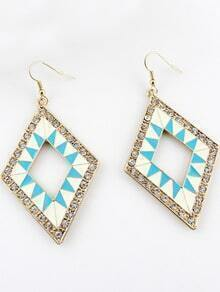 Blue Geometric Gold Crystal Dangle Earrings