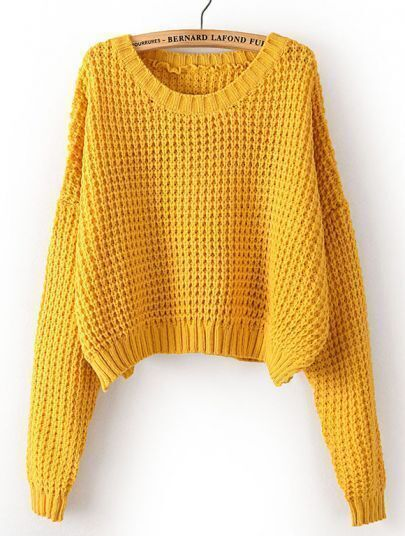 Yellow Long Sleeve Corn Kernels Crop Sweater