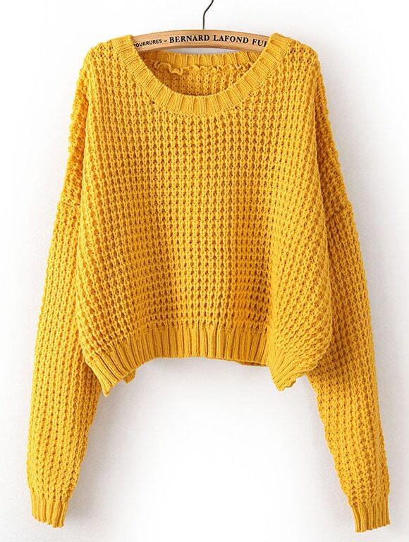 Yellow Long Sleeve Corn Kernels Crop Sweater -SheIn(Sheinside)