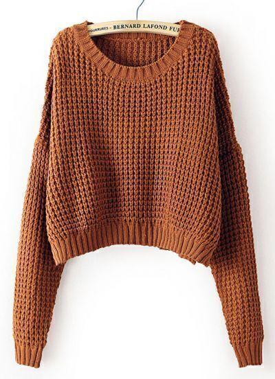 Coffee Long Sleeve Corn Kernels Crop Sweater