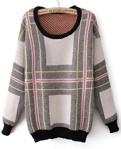 Red Round Neck Long Sleeve Striped Loose Sweater