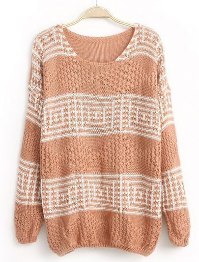 Pink Long Sleeve Geometric Pattern Sequined Sweater