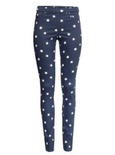 Blue Mid Waist Stars Print Pant