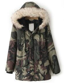 Army Green Camouflage Fur Hooded Pockets Coat
