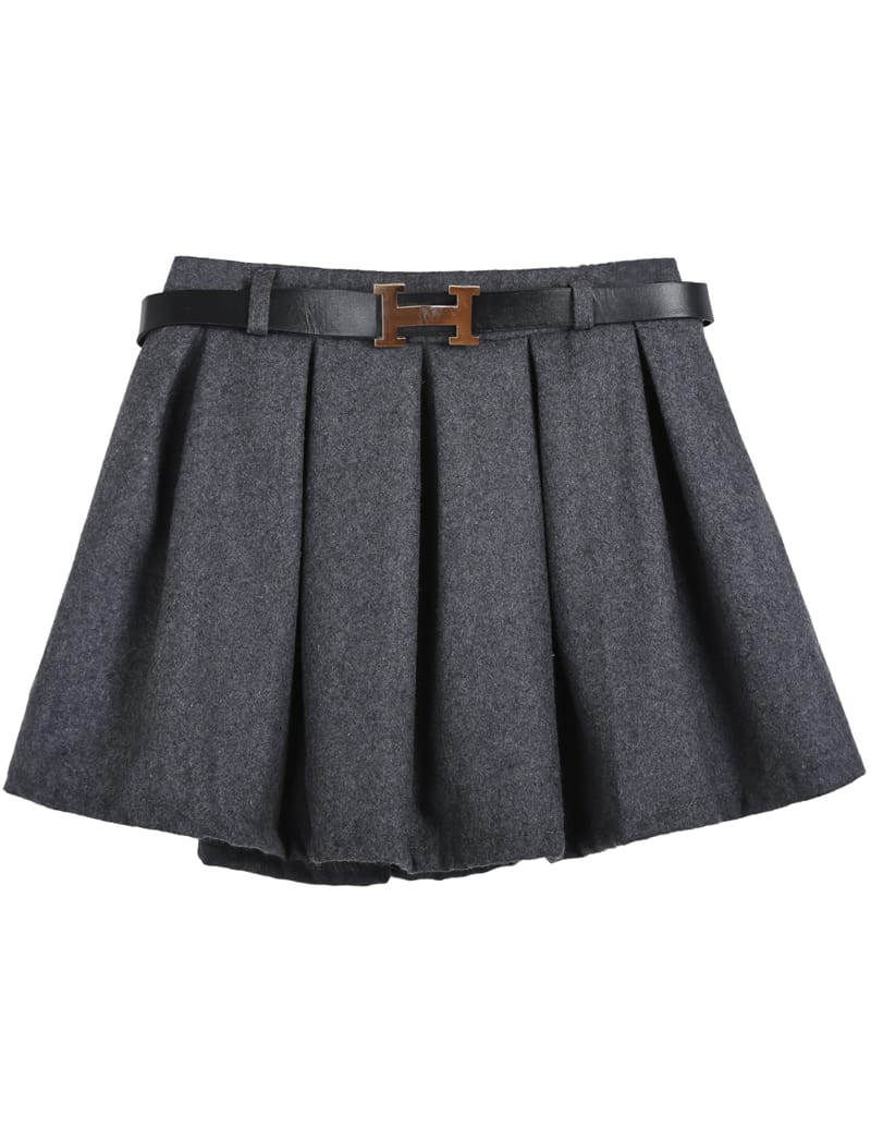 Grey Belt Pleated Skirt -SheIn(Sheinside)