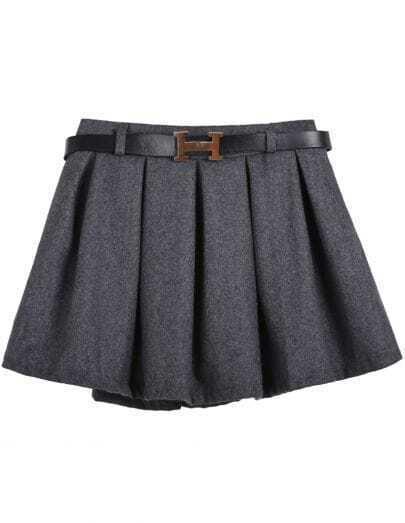 Grey Belt Pleated Skirt