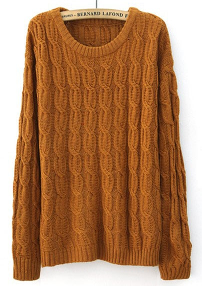 Mustard Yellow Long Sleeve Patched Suede Elbow Cable Knit Sweater ...