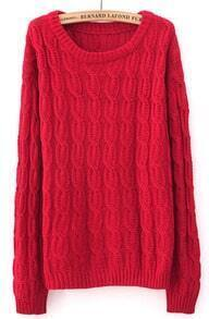 Red Long Sleeve Patched Suede Elbow Cable Knit Sweater