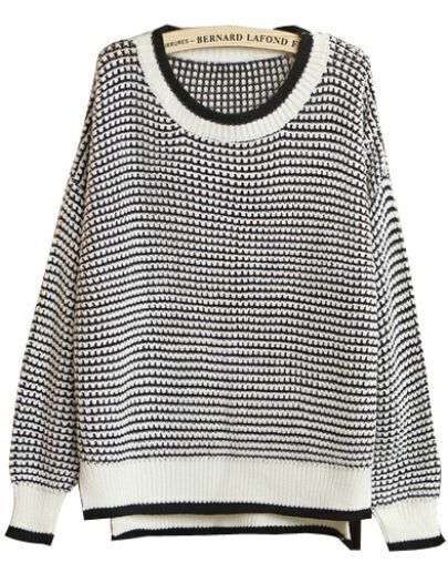 Black White Long Sleeve Knit Loose Sweater -SheIn(Sheinside)