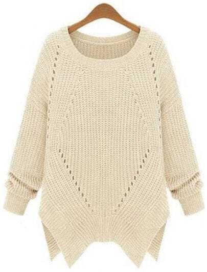 Apricot Long Sleeve Hollow Asymmetrical Sweater