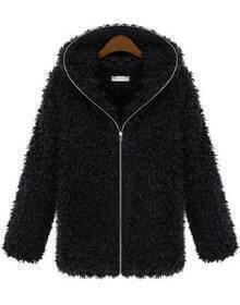 Black Hooded Long Sleeve Zipper Fur Outerwear