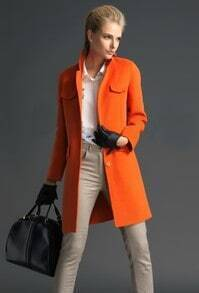 Orange Stand Collar Long Sleeve Pockets Coat