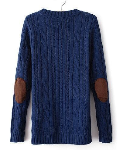 Blue Long Sleeve Elbow Patch Cable Knit Sweater